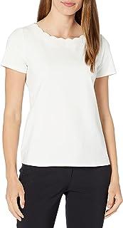 Anne Klein womens Short Sleeve Scallop Neck Cotton Tee T-Shirt