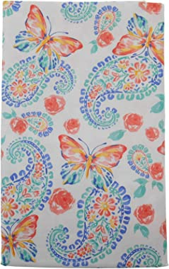 "Mainstream Springtime Floral Paisley with Butterflies Vinyl Flannel Back Tablecloth (52"" x 70"" Oblong)"