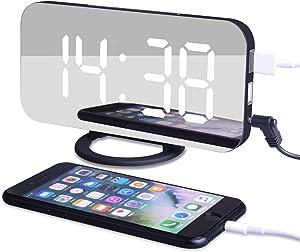 EVILTO Despertador Digital Espejo LED Despertador Electrónico, Espejo Reloj Digital Moderno con Función de Alarma y Dual USB Puertos, Snooze y Memoria Automática, Luminancia Ajustable con 3 Niveles