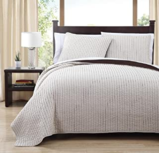 Royal Hotel Project/Runway Queen Size Quilt, Ivory and Toffee 90X90 Inches Coverlet 3pc Set, Luxury 100% Microfiber Embroidered Quilt