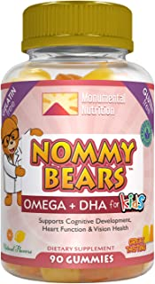 Nommy Bears OMEGA 3,6,9 DHA Gummies for Kids, Gelatin-Free, Vegan-Friendly, Vegetarian, Halal/Kosher Friendly, Boys, Girls...