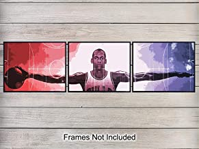 Michael Jordan Basketball Decor Wall Art Print Poster - Unique Home Decoration for Game Room, Man Cave, Gym, Boys or Kids Bedroom - Gift for Hoops and Chicago Bulls Fans, (Three) 8x10 Photos Unframed
