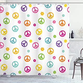 Ambesonne Groovy Shower Curtain, Peace Lifestyle Sign Slogan Celebration Merry Jolly Happy Theme Design, Cloth Fabric Bathroom Decor Set with Hooks, 70