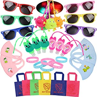 36 Pcs Quarantine Party Favors Supplies - Beat The Virus Bracelet Sunglasses Tote Bag Hand Sanitizer Holder Baby Bib Puffe...