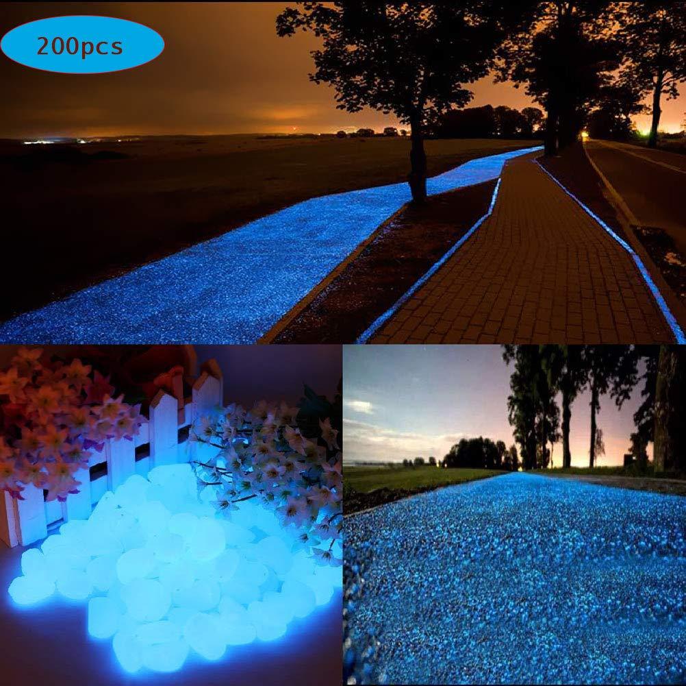 200 Piezas Piedras Luminosas Azul, 200 Piezas Piedras Decorativas Guijarros, Piedras Decorativas del Jardín para Las Calzadas Decoración al Aire Libre Tanque de Peces de Acuario Camino Lawn Yard: Amazon.es: Jardín