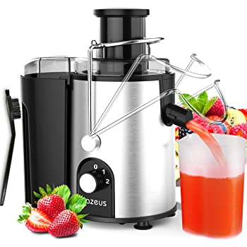 [ Unique Version] AZEUS Juicer with Utility Patent, Juice Extractor with Germany-Made 163 Chopping Blades (Titanium Reinforced) & 2-Layer Centrifugal Bowl, High Juice Yield, Easy to Clean, Anti-Drip,100% BPA-Free, ETL Listed, Catcher & Brush Included