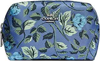 Coach Large Boxy Cosmetic Case With Slate Sleeping Rose/Silver