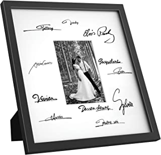 ONE WALL Tempered Glass 14x14 Signature Picture Frame with Mats for 5x7 Photo, for Wedding Graduation, Black Wood Frame for Wall and Tabletop - Mounting Hardware Included