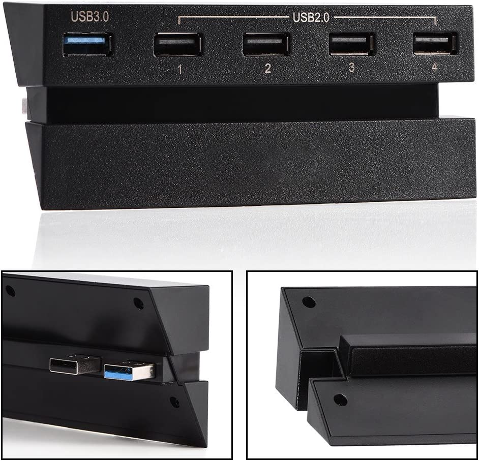 Mxzzand USB Hub 5-Port Portable Wear-Resisting Compatible with PS4 Game Console