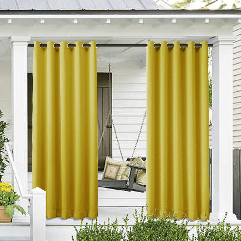 新色 Cololeaf Outdoor Curtains for Patio アイテム勢ぞろい inches 108 Solid Waterproof