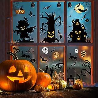 Halloween Window Clings, Miss Rui 8 Sheets Halloween Window Stickers, Pumpkin Tree House Bat Static Clings for Halloween W...