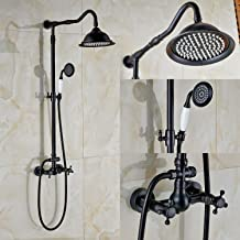 Rozin Bathroom Dual Knobs Mixer Shower Set 8-inch Rain Showerhead with Hand Spray Oil Rubbed Bronze