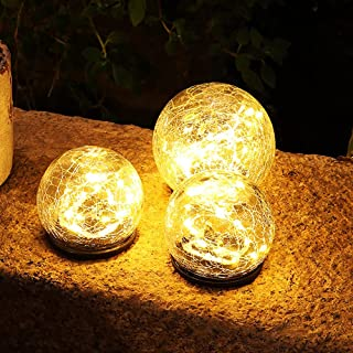 Garden Solar Lights Outdoor Decor Cracked Glass Globe Waterproof LED Solar Powered Ball Outdoor Decorations for Patio Lawn...
