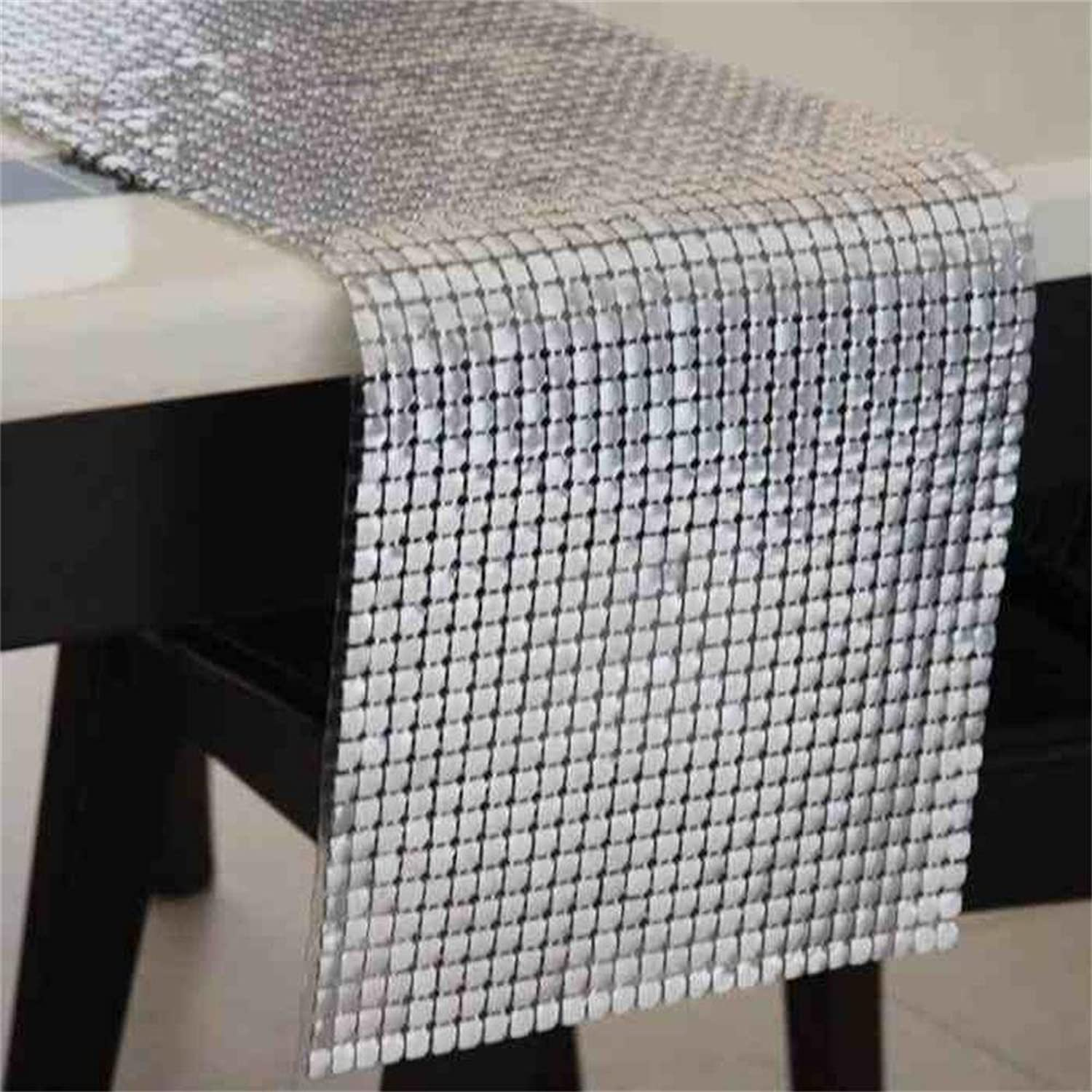 TOYM Large Aluminum Sheet Metal Table Flag Modern Shiny Coffee Table Cloth Flag Home Silver Decorations ( Size   30145cm )