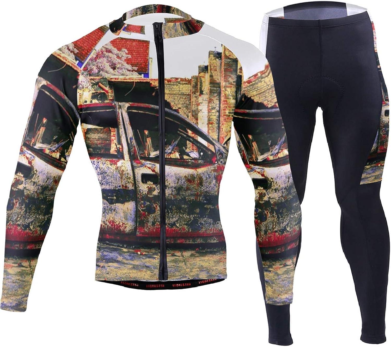 FANTAZIO Car Art Junkyard Cycling Jersey Suit Cycling Clothes for Men Riding Bike Wear 3D Padded Pants