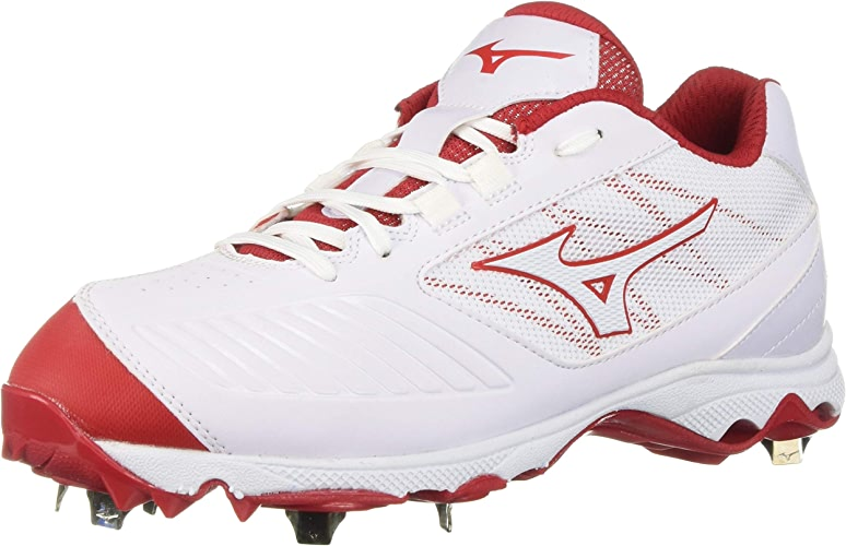 Mizuno Wohommes 9-Spike Advanced Sweep 4 Low Metal Softball Cleat chaussures, blanc rouge, 9.5 B US