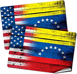 """Best ExpressItBest Two 2""""x3"""" Decals/Stickers with Flag of Venezuela - Wood w USA Flag - Long Lasting Premium Quality Review"""