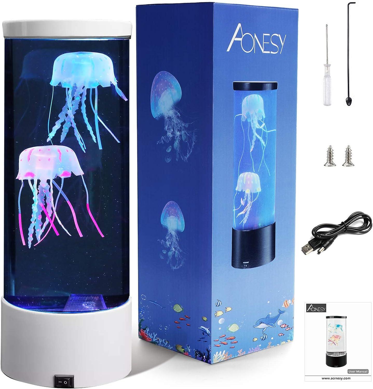 L/ámpara de acuario de medusas L/ámpara de medusas de fantas/ía que cambia de color Regalo de luz de humor para ni/ños Hombres Mujeres Decoraci/ón del hogar para la habitaci/ón