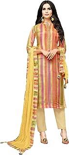AKHILAM Women's Printed Muslin Silk Semi-Stitched Salwar Suit Dress Material with Nazneen Dupatta (Multi-coloured_3DIAN052)