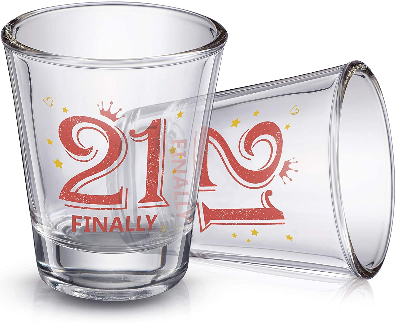 El Paso Mall 2 Pieces Finally 21 Tucson Mall Shot Glass Birthday 21st oz Dec