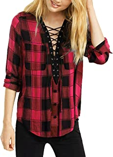 Best red plaid lace up shirt Reviews