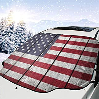 Usa Flag United States Of America Flag Old Wood Windshield Snow Cover Car Windshield Snow & Sun Shade Protector Exterior Shield Guard Fits Most Weather Winter Summer Auto Sunshade Cover 58 x 46.5 inch