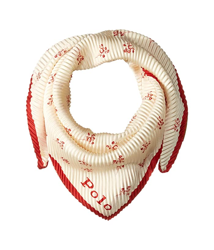 Polo Ralph Lauren  Pleated Calico Print Scarf (Red Horseshoe Floral) Scarves