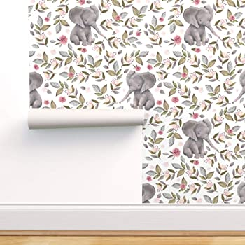Spoonflower Peel And Stick Removable Wallpaper Elephant Baby Nursery Girl Pink Roses Flowers Print Self Adhesive Wallpaper 12in X 24in Test Swatch Amazon Com