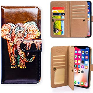 iPhone XR Case,Bcov Stylish Tribal Elephant Multifunction Wallet Flip Leather Cover Case with 7 Credit Card Slots ID Card Holder Money Pocket for iPhone XR