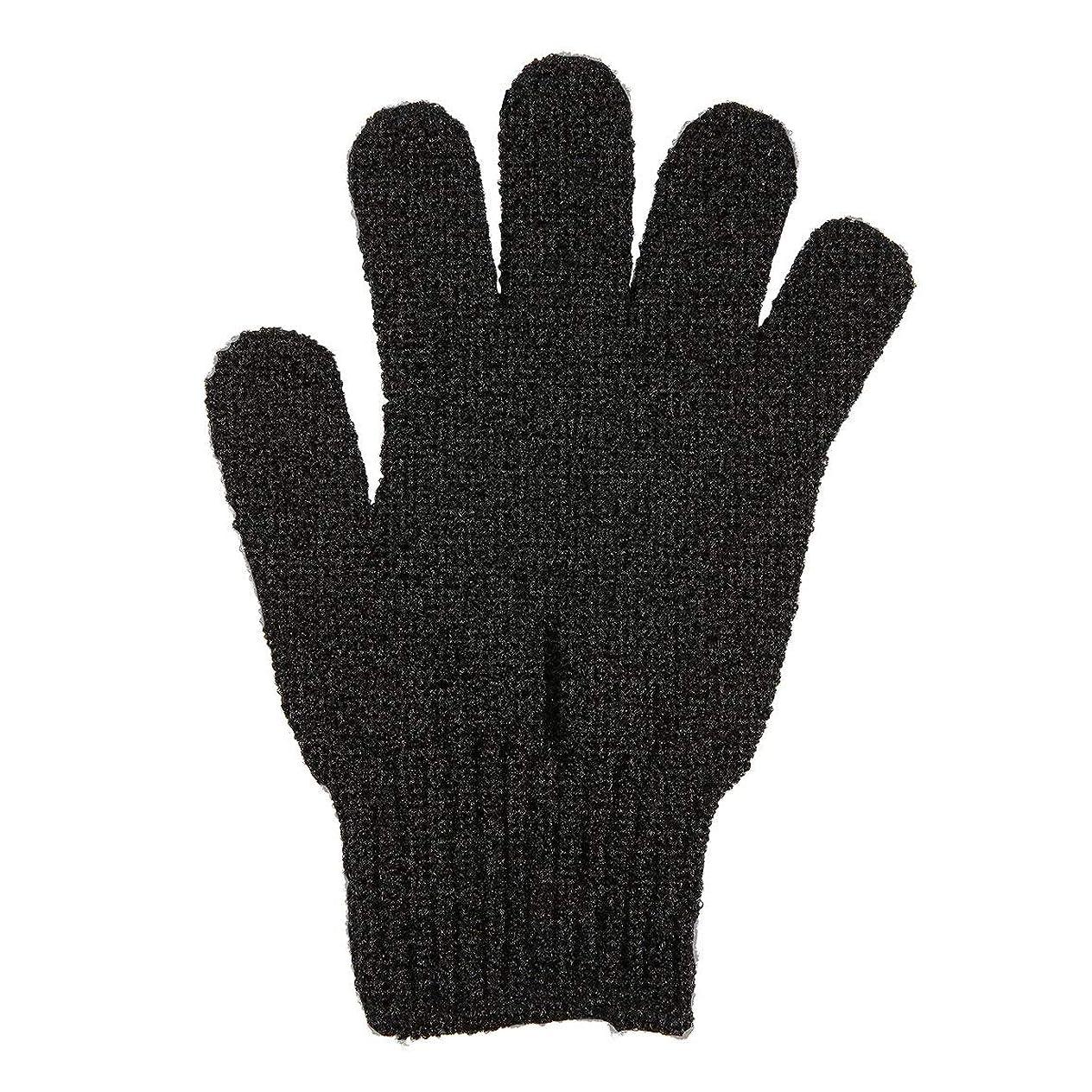 ブルーベルイタリアのつなぐ角質除去手袋フルボディスクラブデッドセルソフトスキン血液循環シャワーバススパ剥離アクセサリー - ブラック