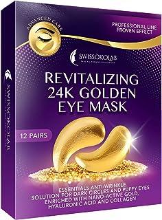 24k Golden Eye Mask Anti-Aging Hyaluronic Acid Eye Patches Under Eye Pads for Moisturizing & Reducing Dark Circles Puffiness Wrinkles