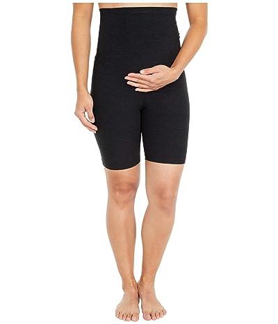 Beyond Yoga Maternity Spacedye Empire Waisted Biker Shorts (Darkest Night) Women