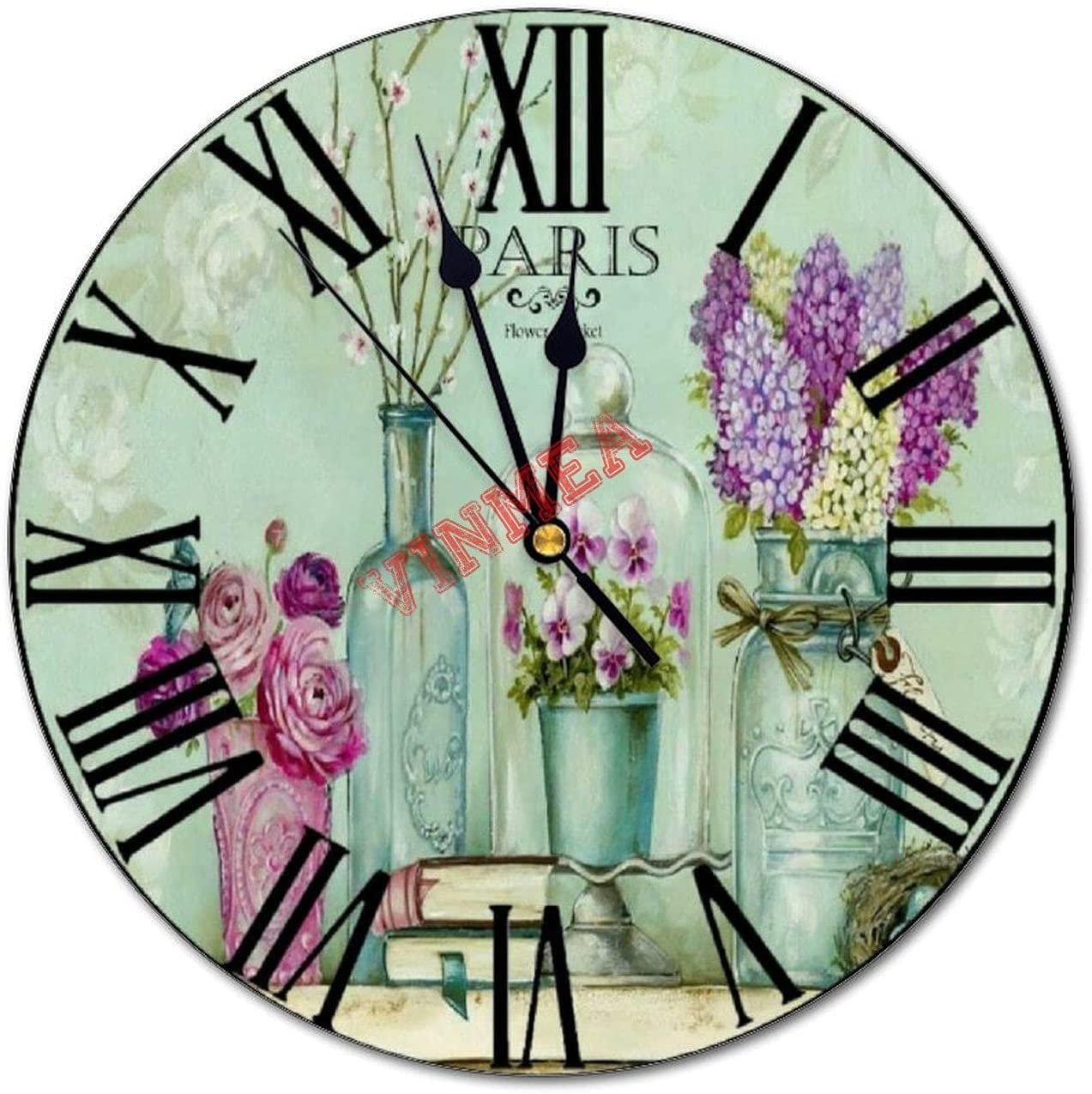 VinMea Decorative Wall Clock Flowers 1 quality assurance and 25% OFF Round Sile Vase