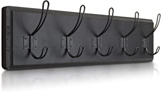 HBCY Creations Rustic Black Coat Rack - Wall Mounted Wooden 24