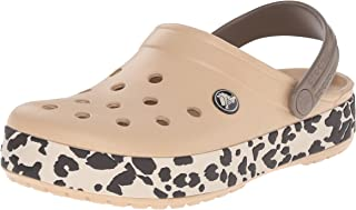 crocs Unisex Crocband Leopard Clog Mule, Gold/Black Leopard, 11 Women M US/9 Men M US