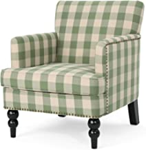 Christopher Knight Home Evete Tufted Fabric Club Chair, Green Checkerboard, Dark Brown