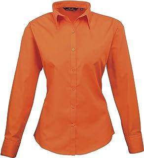 Premier Womens/Ladies Poplin Long Sleeve Blouse/Plain Work Shirt