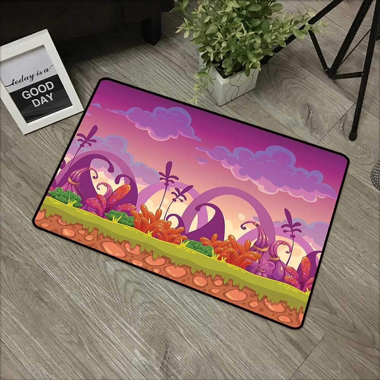 Printed Door mat W35 x L59 INCH Playroom,Panoramic Fairytale Landscape Bushes Weeds Soil Magical Atmosphere Print,Purple orange Green Non-Slip Door Mat Carpet