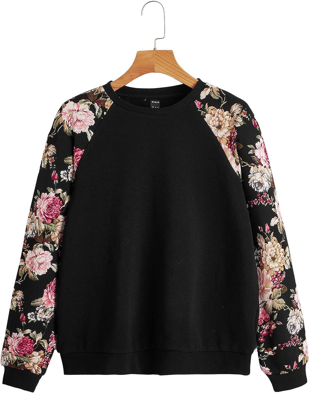 ROMWE Women's Floral Print Sweatshirt Long Sleeve Round Neck Pullover Tops