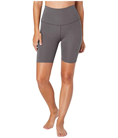 Beyond Yoga Heather Rib High Waisted Biker Shorts (Gray Heather) Women