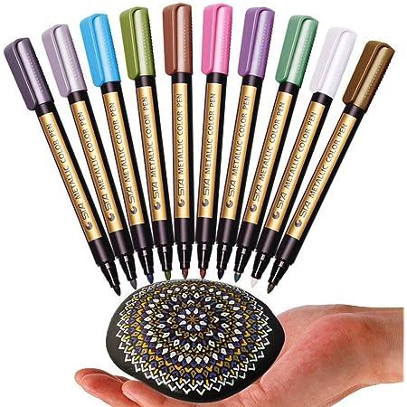 Metallic Marker Ceramic Porcelain Rock Glass Painting Wood Pens Kit Paint 10Pcs