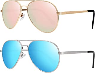 WOWSUN - Gafas de sol polarizadas para niños y niñas, gafas de sol aviador con lente de espejo, 2 unidades
