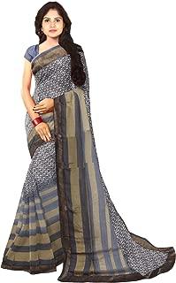 KLM Fashion Mall Women's Fancy Cotton Silk Saree (Beige & Grey)