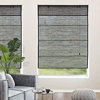Yoolax Natural Roman Shades,100% Linen Woven Wood Window Blinds Handmade Fabric Light Filtering Shades for Home Restaurant Office Customized(Linen Ripple)