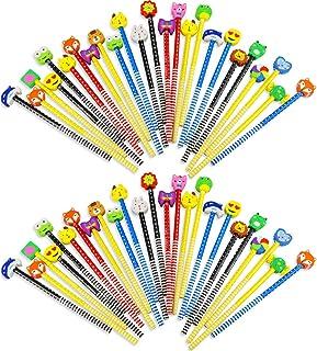 Etmact 50 Pack Colorful Cartoon Animated Pencil with Eraser Novelty Dot & Stripe پدیکورهای رنگارنگ و رنگ آمیزی کودکان و نوجوانان