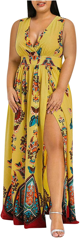 HULKAY Party Dress Plus Size Long Dress Women Casual Short Sleeve Cold Shoulder Boho Flower Print Split Dresses