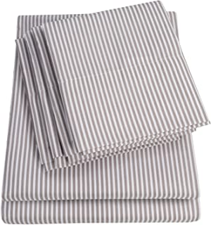 Sweet Home Collection 4 Piece Quality Deep Pocket Bed Sheet Set 2 Extra Pillow Cases, Twin, Classic Stripe Gray