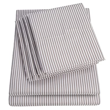 Sweet Home Collection King Size Bed Sheets-6 Piece 1500 Thread Count Fine Brushed Microfiber Deep Pocket Set-2 EXTRA PILLOW CASES, VALUE, Classic Stripe Gray