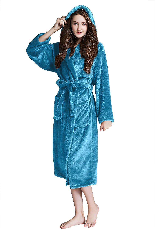 Whoyun Plush Robes for women 35% OFF Bathrobe Long Hooded Ranking TOP7 Fleece Shawl