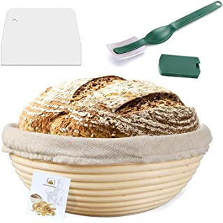 9 Inch Proofing Basket,WERTIOO Bread Proofing Basket + Bread Lame +Dough Scraper+ Linen Liner Cloth for Professional & Hom...